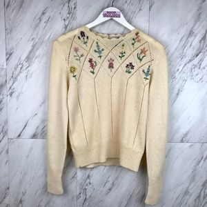 Vintage Hand Embroidered Floral Wool Sweater